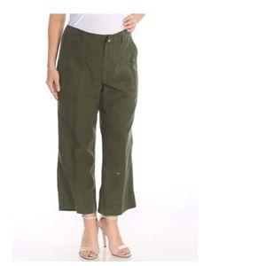 LAUREN RALPH LAUREN TWILL HIGH RISE GREEN PANTS